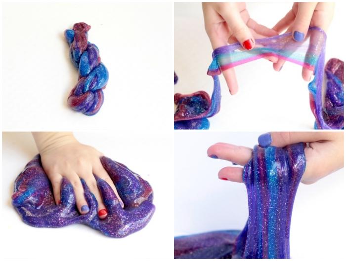 recette de slime facile avec de la lessive et de la colle liquide, du slime galaxie de couleur bleu, violet et rose