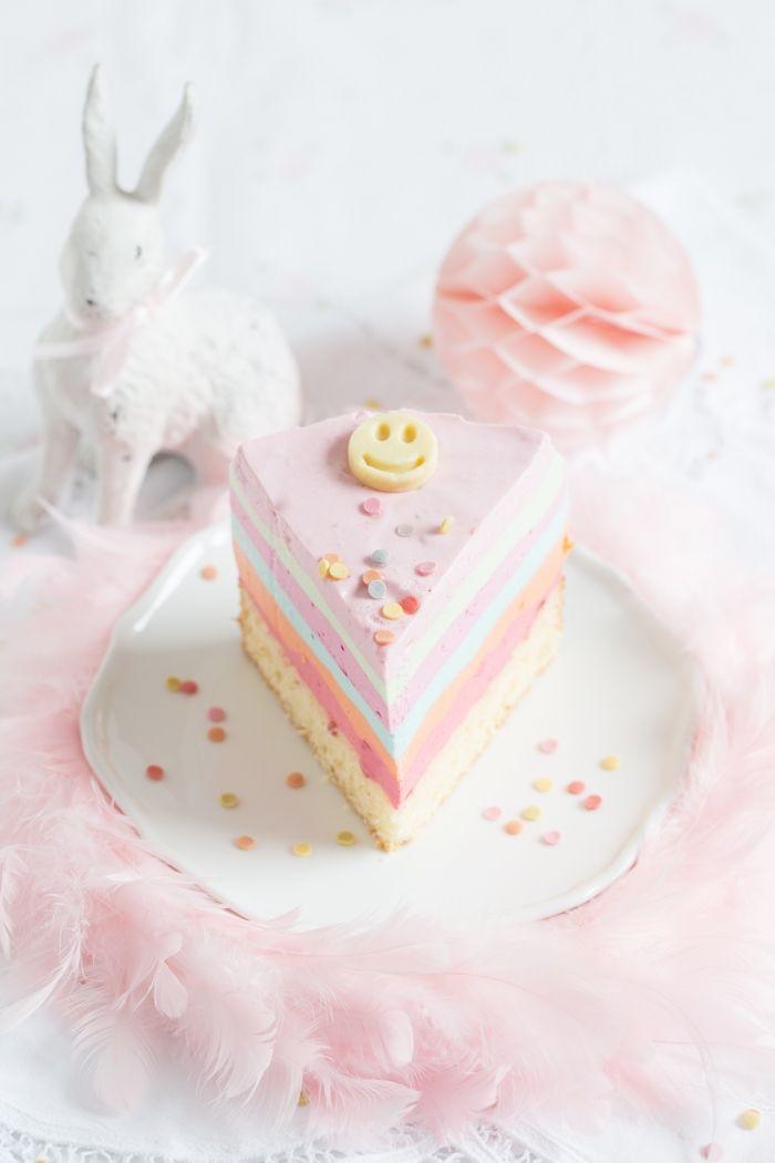 recette de gâteau arc-en-ciel façon cheesecake à la crème au yaourt et au mascarpone, au glaçage en nuances pastels
