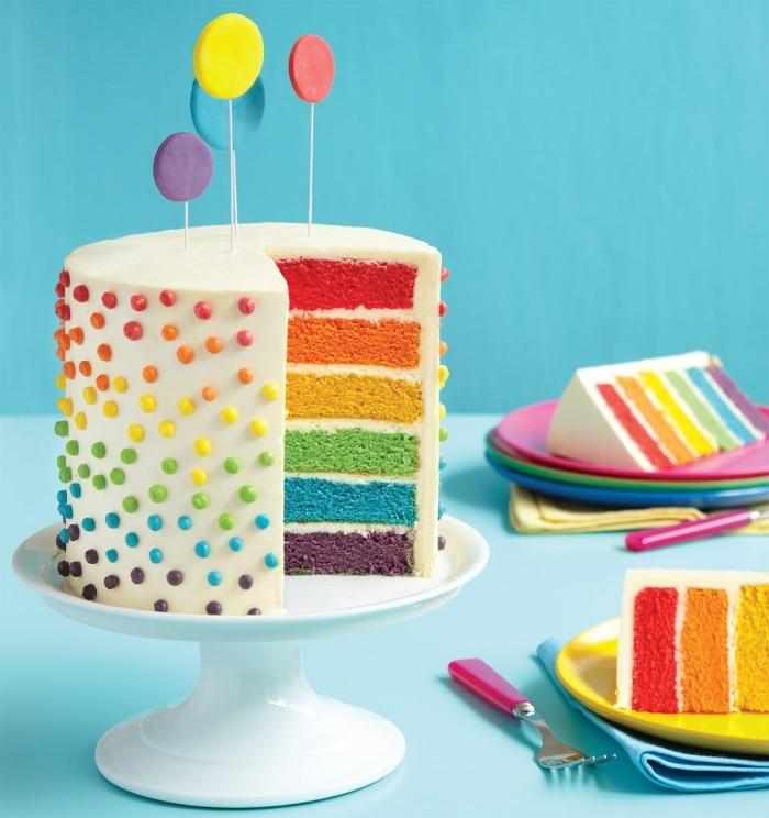 recette layer cake arc-en-ciel à base de génoises multicolore nappé de glaçage au beurre et décoré avec des perles en sucre multicolore