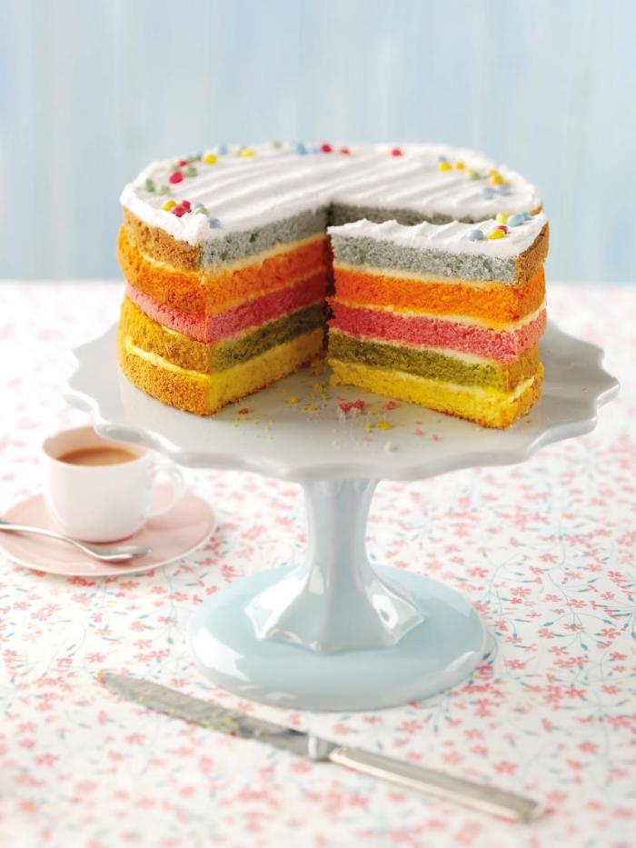 recette de gateau cake anglais pour le tea time sans glaçage à base de génoises colorées