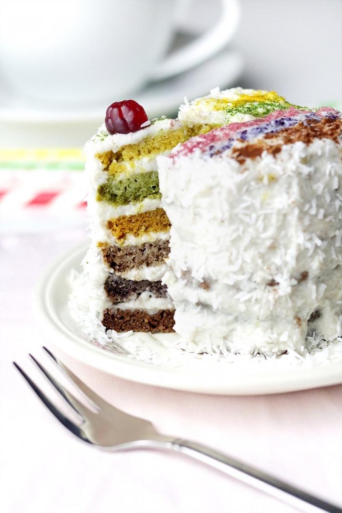 recette de rainbow cake à base de génoises colorées naturellement, au glaçage à la noix de coco