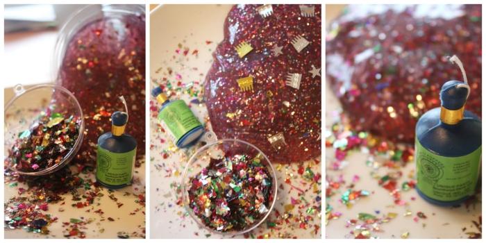 recette slime festif à paillettes et à confettis, à réaliser avec les enfants pour la fête de la fin d'année