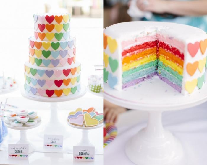 recette de wedding cake à intérieur arc-en-ciel décoré de petits coeurs modelés en pâte à sucre