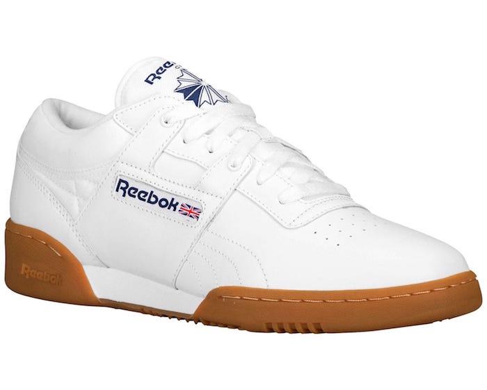 sneakers mode rétro classics Reebok Workout Plus blanc semelle marron