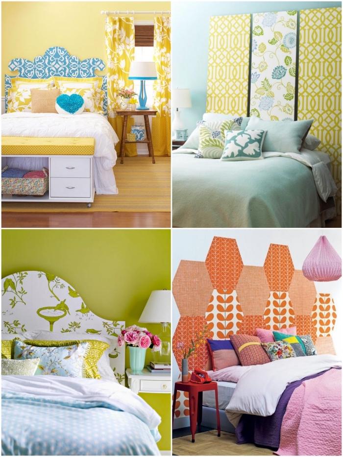 idées déco tête de lit habillée de papier peint aux couleurs vitamiénes pour une touche de fraîcheur dans la chambre à coucher