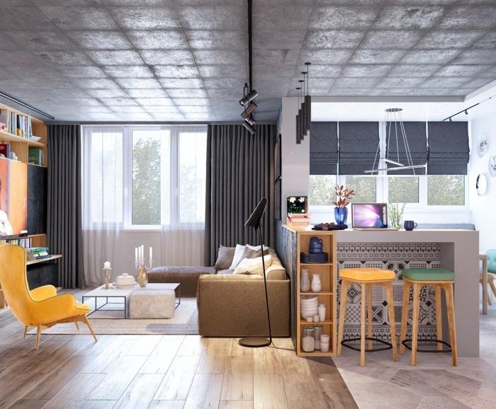 idée quelle couleur associer au gris dans un salon au plafond et murs neutres décoré avec meubles et accessoires flashy jaune