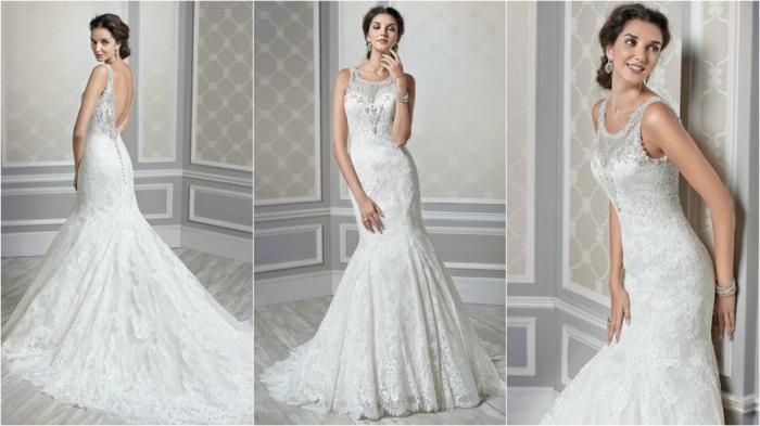 robe sirene mariee, robe de mariée fourreau, modèle en blanc, col rond avec des pierres blanches brillantes Swarovski