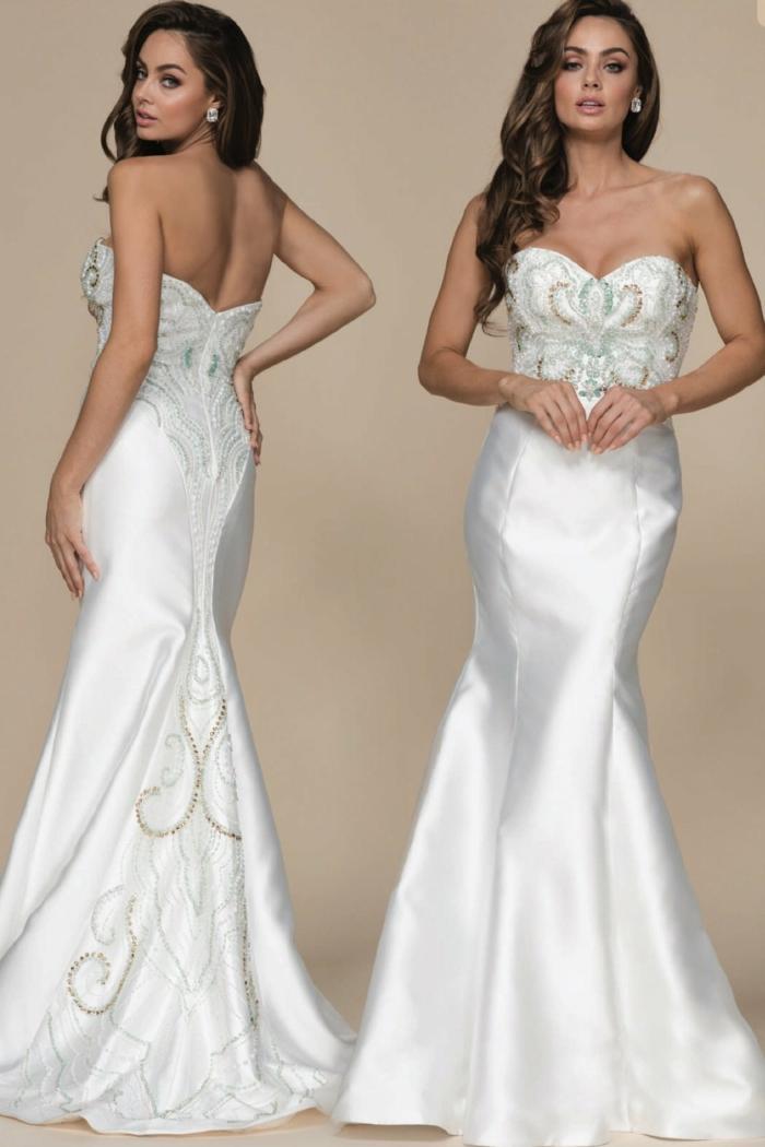 robe de mariée bustier, robe mariage sirene, satin blanc, ornements en fil argent et or sur le bustier et sur la traîne, silhouette élancée, robe de luxe, mariage de soirée