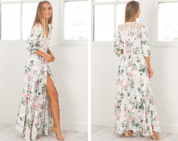 exemple de robe femme ete élégante aux manches mi longue et décolleté, modèle de robe blanche avec fleurs et broderie dos