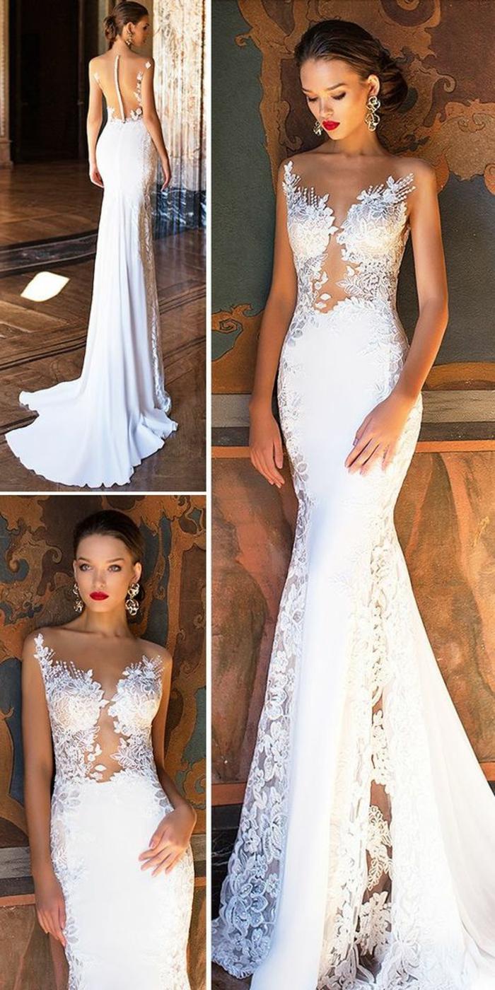 robe sirène dentelle, robe de mariée moulante, robe mariée fourreau, robe de mariée près du corps, dentelle blanche, dos avec des boutons en tissu blanc