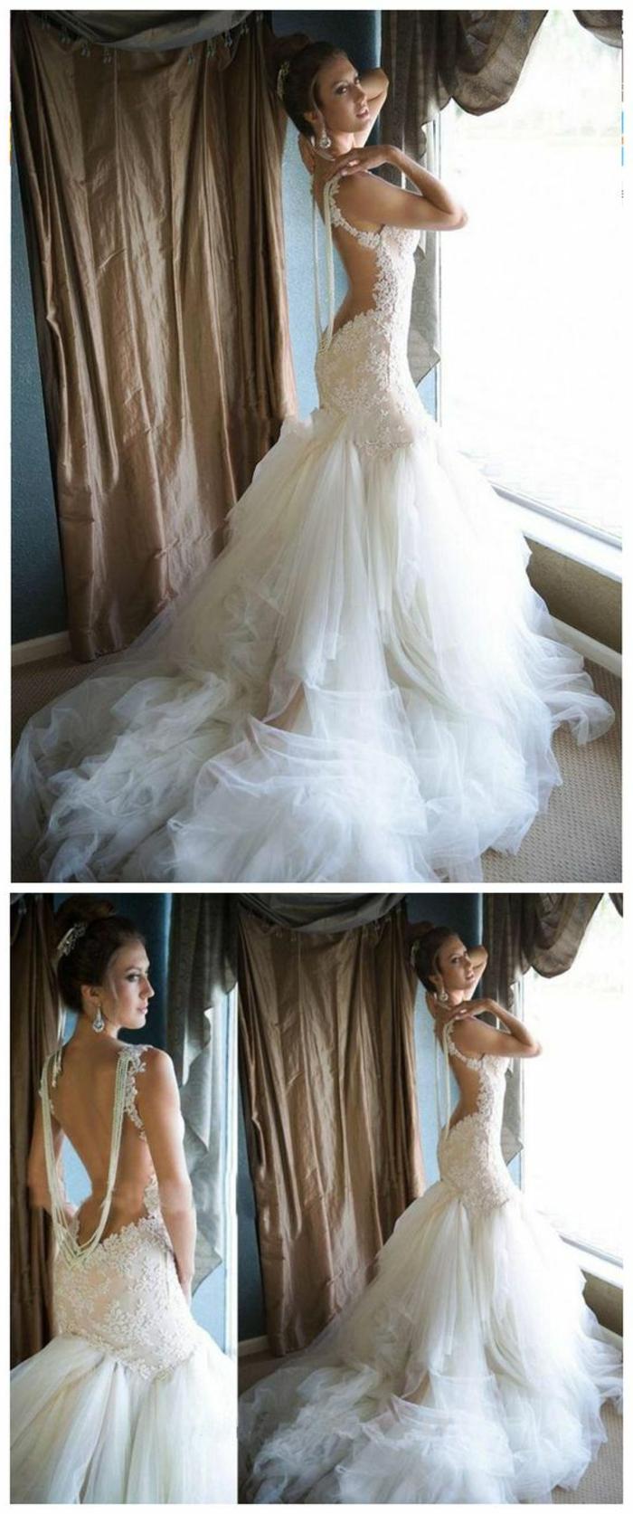 robe sirène dentelle, robe mariée fourreau, coupe qui met en relief les courbes des fesses, bretelles fines ornées de pierres Swarovski