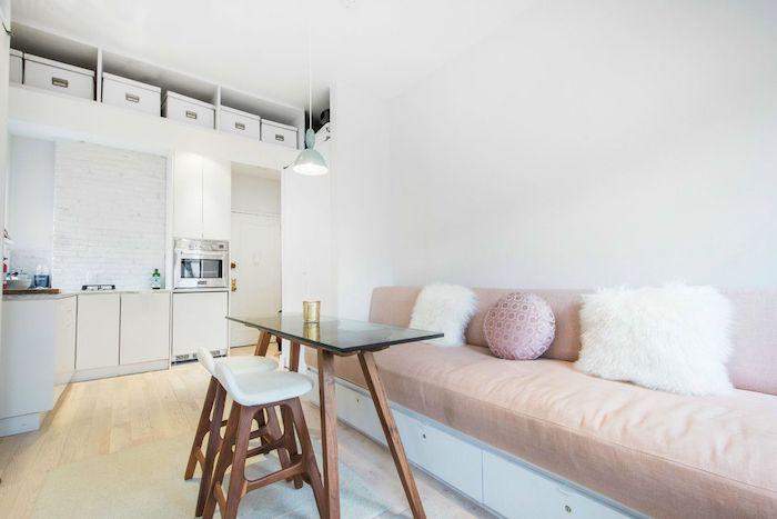 Couleur de peinture pour salon salle a manger inspiration décoration blanc et rose pale grand canapé