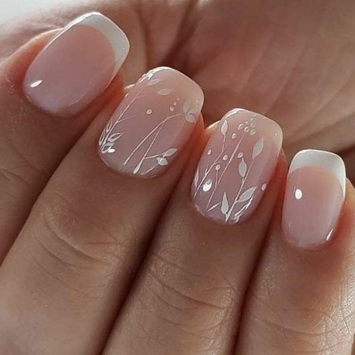deco ongle gel fantastique, bordures blanches, style de manucure pour la mariée 2018