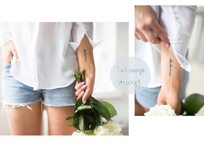 exemple de tatouage femme sur la main à design minimaliste avec mot inspirant en lettres cursives minuscules