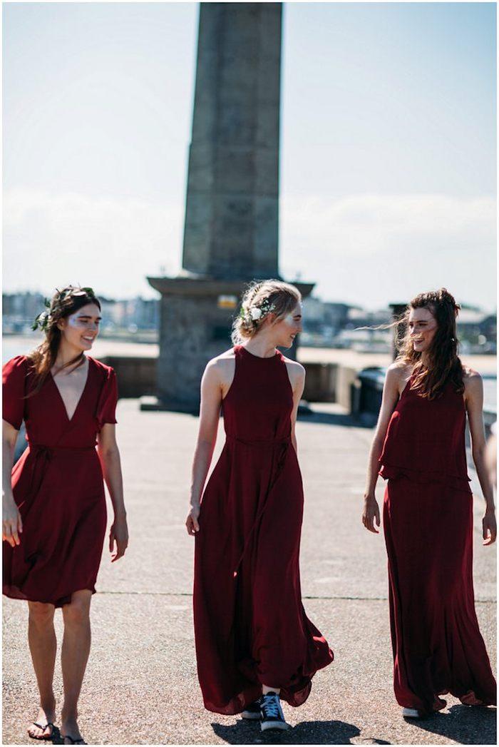 Robe longue pour mariage tenue habillée femme printemps robe à porter robe bordeaux rouge