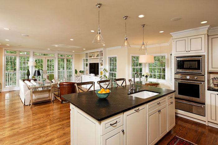 Quelle décoration pour son salon qui donne à la salle à manger bien décorée idée déco simple rustique cuisine avec salon