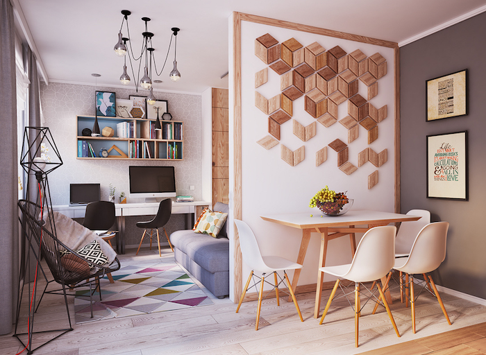 cloison en bois design pour separation de cuisine et salon dans petit appartement