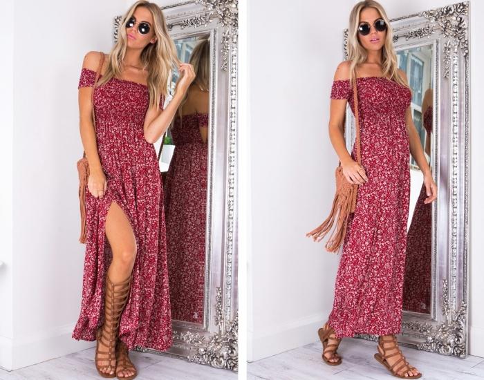 idée quels accessoires porter avec une robe de plage longue de couleur rouge, modèle de sandales gladiateur cuir camel