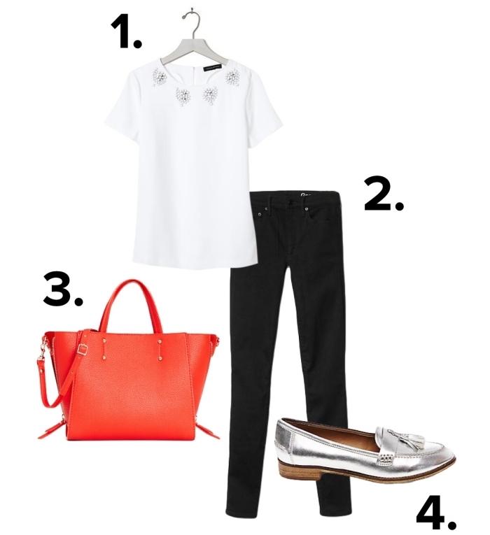 comment s habiller pour un entretien d embauche en blouse blanche et pantalon noir combinés avec sac à main rouge et escarpins gris