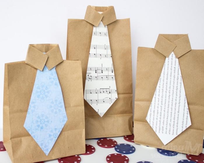 modèle d'emballage original pour un cadeau homme avec poche en papier recyclé et cravate en papier coloré