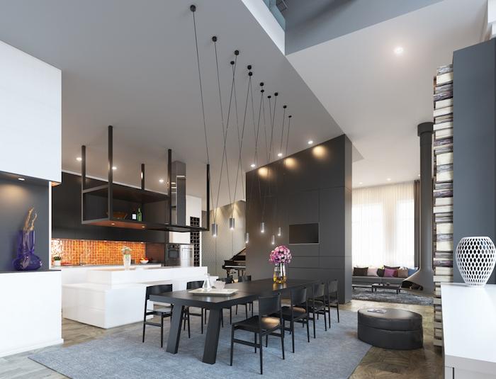 salle a manger blanche et gris anthracite avec plafond haut et éclairage suspendu et grande table noire rectangle