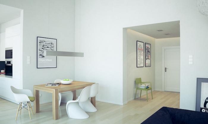 meubles salle a manger scandinave avec table et chaises blanches design et murs blancs