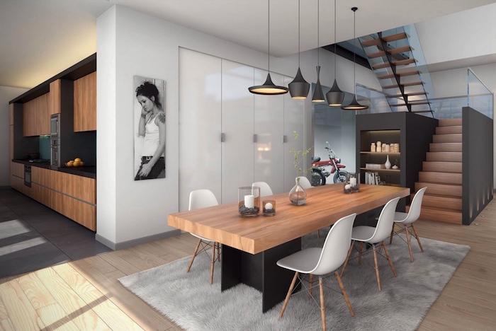 salle a manger complete moderne avec grande table en bois rectangle et eclairage suspendu