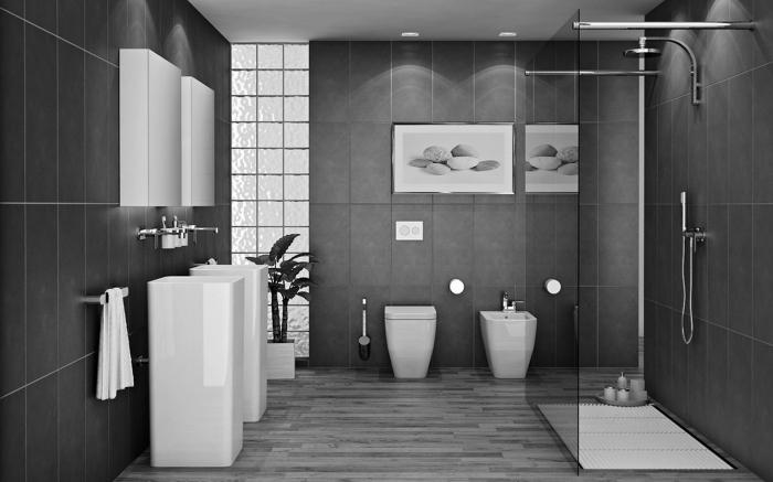 décoration de la salle de bain moderne bicolore avec carrelage en gris anthracite et meubles blancs, quelle plante pour salle de bain