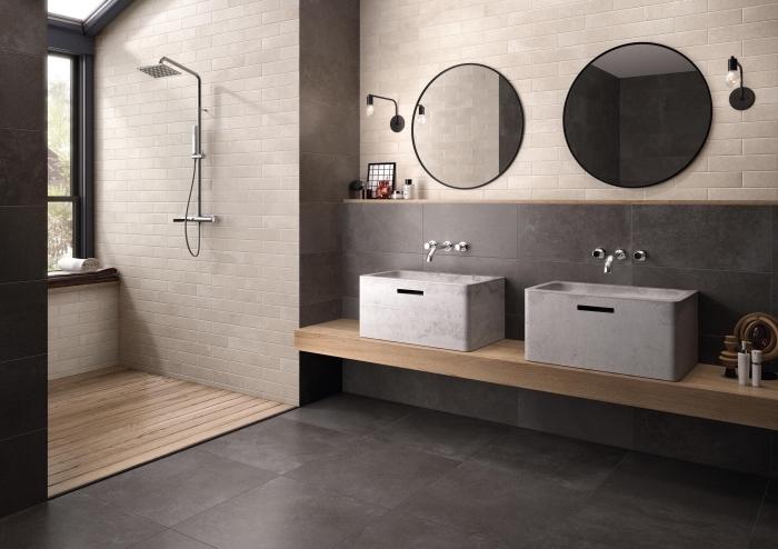 exemple de décoration d intérieur stylé dans une salle de bain aménagée en couleurs neutres avec carrelage gris anthracite