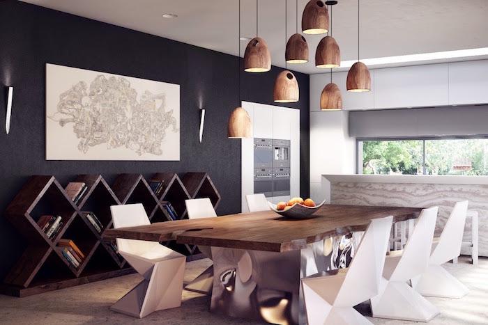 salle à diner avec décoration moderne et meubles design en bois avec mur noir et éclairage suspendu