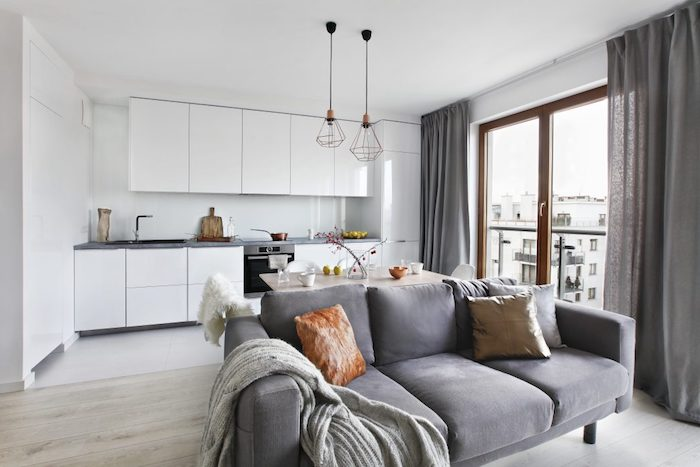 Amenagement salon salle à manger 20m2 idée déco salon moderne cool idée canapé confortable cuisine tout blanche