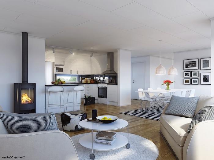 Papier peint salle à manger idée déco salon moderne salle à manger bien aménagée moderne salon table basse ronde cuisine ouverte au salon
