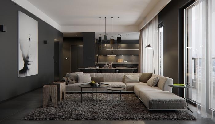 design élégant et stylé dans un salon aux murs foncés avec plafond blanc et plancher gris, modèle de canapé design beige