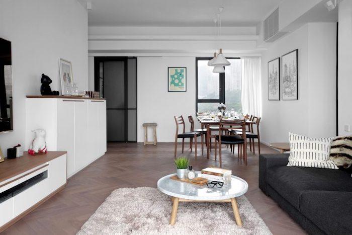 Idee deco peinture salon idée déco salon moderne décoration scandinave cool idée pièce fonctionnelle séjour et salle à manger