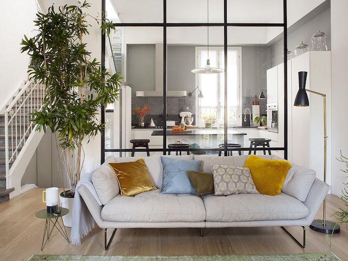 grande verriere cuisine salon en métal style loft design pour séparer séjour