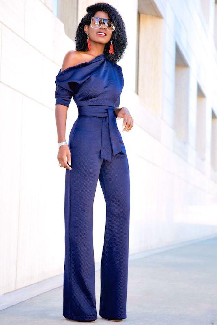 Superbe robe chic pour mariage cool idée tenue mariage simple combinaison bleu foncé
