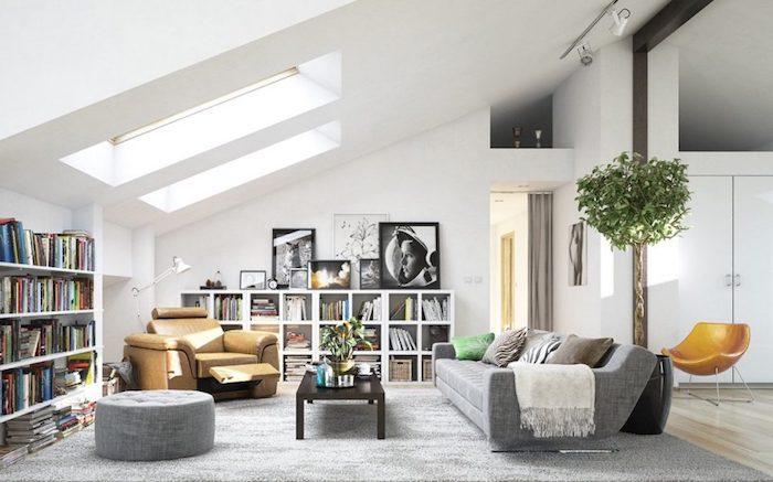Décoration intérieure salon idee deco peinture salon tendance aménagement espace pièce à manger derriere le canapé biblotheque ikea