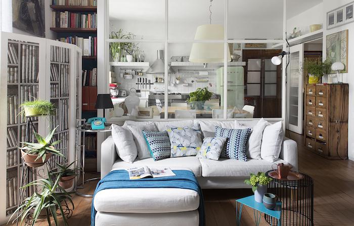 meuble de separation verriere blanche pour séparer cuisine et salon