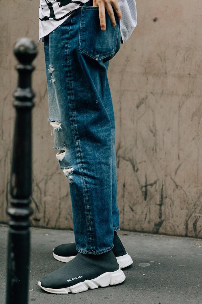 sneakers tendance homme 2018 Balenciaga Speed Trainer noir avec jean