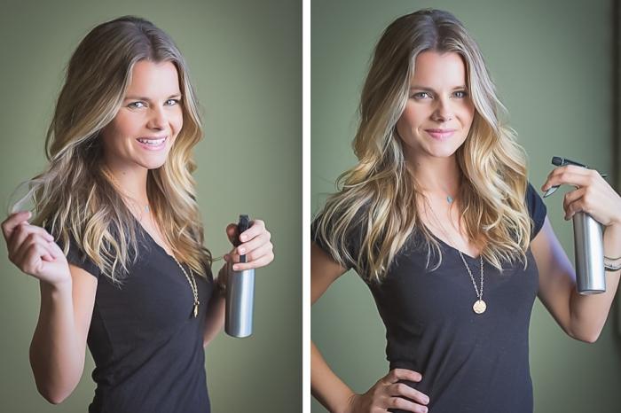 décoloration cheveux maison avec un spray aux produits naturels, coiffure de cheveux longs légèrement bouclés