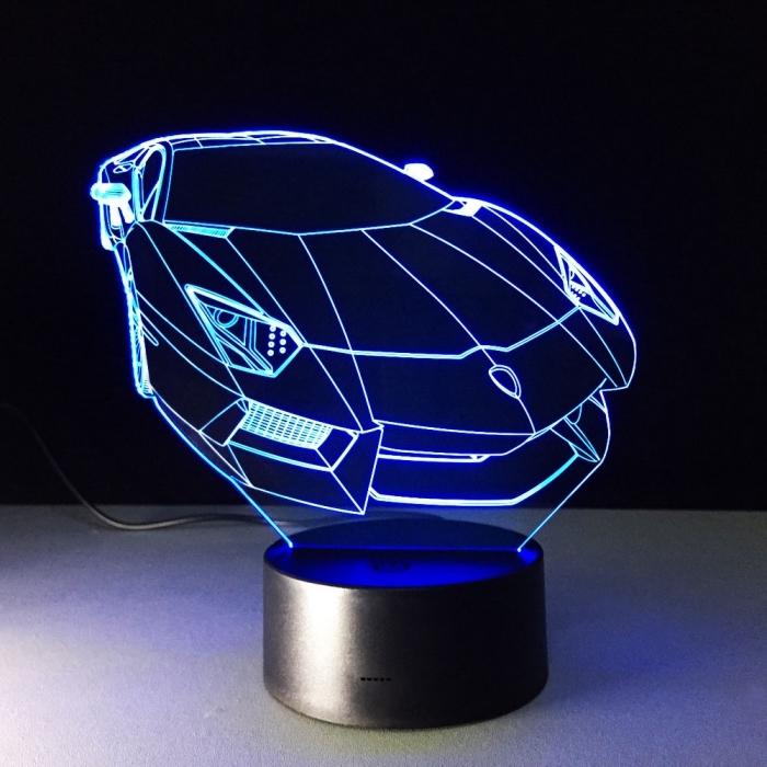 modèle de lampe bureau à design 3D voiture lumineuse, exemple d'objet original sur le thème des voitures
