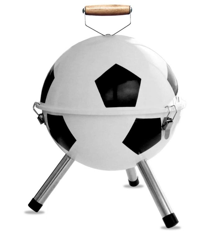 cadeau pour fan football et barbecue, modèle de mini barbecue en forme de ballons de foot avec poignée en bois