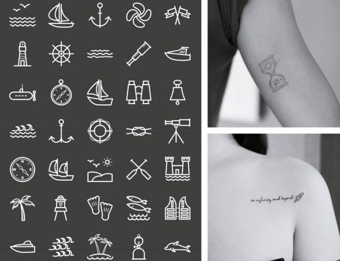 plusieurs idées pour choisir son petit tatouage femme à design symboliques, mini symboles sur le thème de voyage et d'aventure pour se faire un tattoo