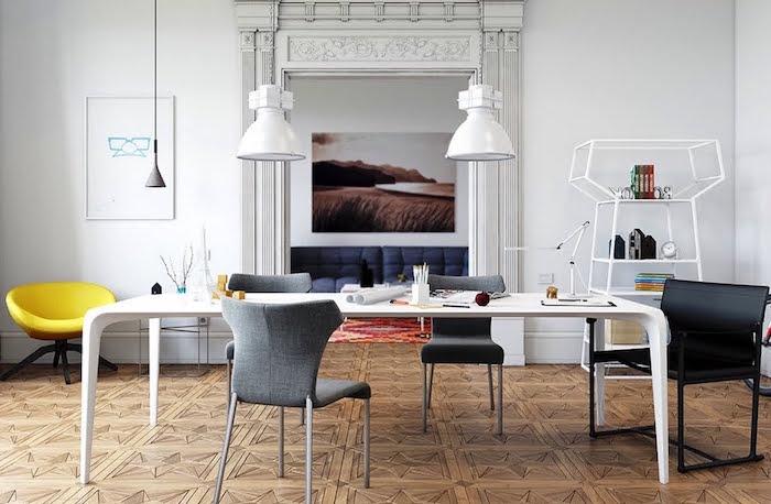 salle à manger complète moderne blanche sur parquet sculpté avec table blanche design et chaises