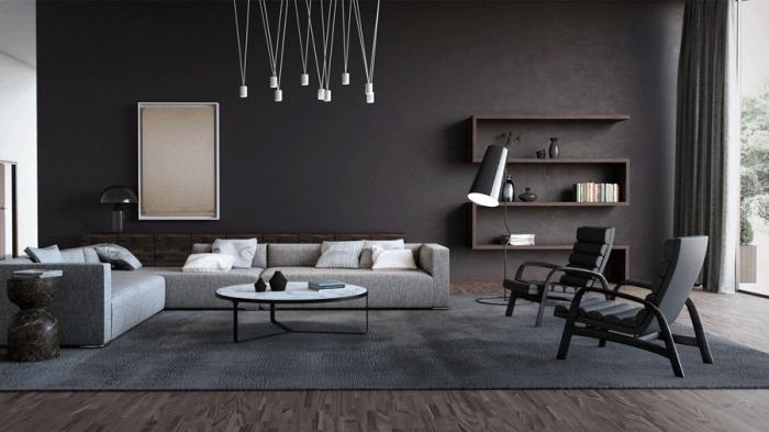 idée design intérieur moderne dans un salon large aux murs gris anthracite aménagé avec meubles noir et gris clair