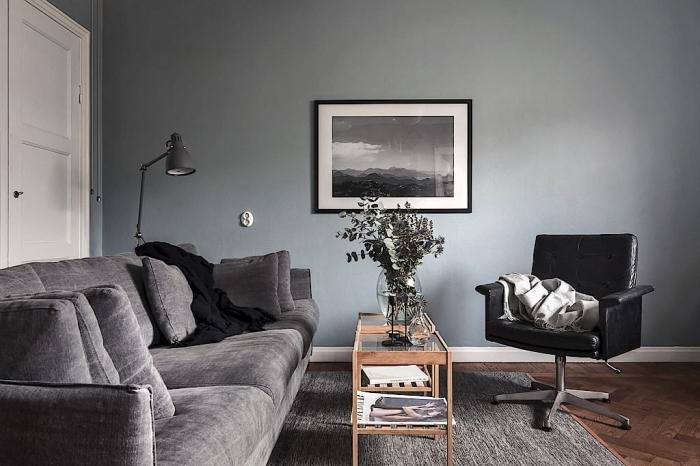ambiance accueillante dans un salon aux murs gris avec table en bois et verre, modèle de canapé gris avec coussins
