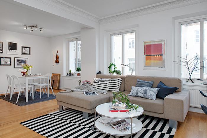 Deco Moderne Salon Distingué Par Tapis Sejour Et Salle à Manger Comment Amenager  Salon Salle A