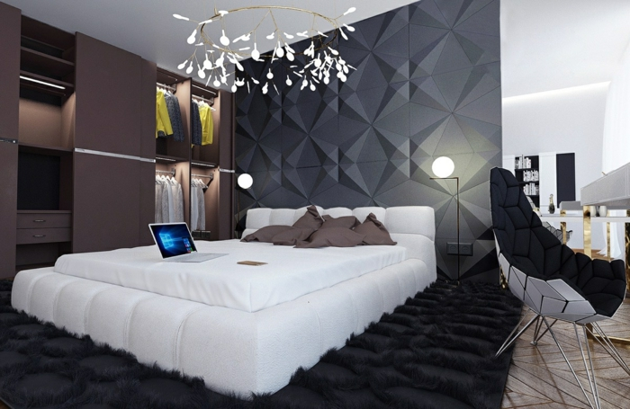 chambre blanche et grise déco zen, tapis noir super moelleux, chaise cocoon, luminaire original
