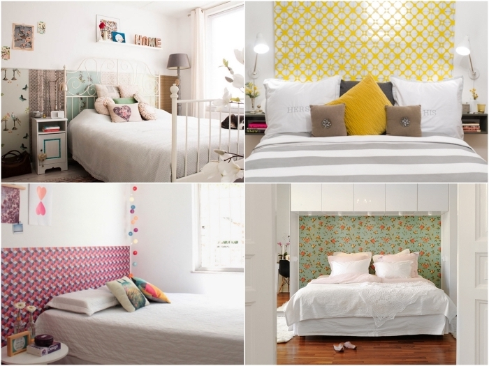 un revêtement mural tendance derrière le lit en papier peint tete de lit pour sublimer la chambre à coucher
