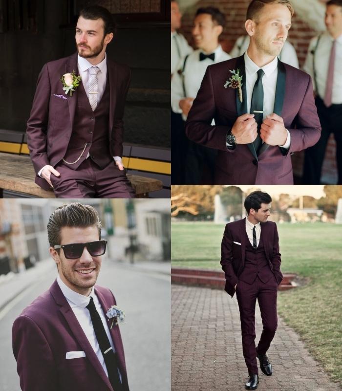 comment porter le costume bordeaux homme, quatre looks tendance en costume bordeaux avec un tombé parfait